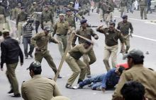 Police cane charge BJP activists