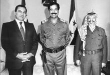 Former Egypt President Hosni Mubarak along with PLO chief Yasser Arafat and Iraqi President Saddam Hussein.