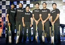 India cricketers Harbhajan Singh, Yusuf Pathan, Gautam Gambhir, Yuvraj Singh, captain Mahendra Singh Dhoni and Piyush Chawla