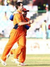 Netherlands all-rounder Ryan ten Doeschate celebrates the wicket of West Indies batsman Chris Gayle