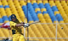 Australia's Shane Watson pulls for four against Zimbabwe