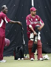 West Indies cricketers during a cricket practice session.