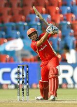 Canada captain Ashish Bagai plays one to the boundary against Australia