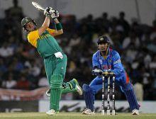 South Africa batsman AB de Villiers hits a six