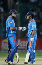 India's Yuvraj Singh (left) and captain Mahendra Singh Dhoni