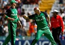 Ireland medium-pacer Kevin O'Brien celebrates the wicket of West Indies batsman Darren Bravo