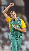 South Africa paceman Morne Morkel celebrates the dismissal of Irish captain William Porterfield