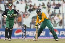 South Africa batsman Morne van Wyk after being bowled by George Dockrell