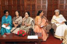 Girija Vyas, chairperson of National Commission for Women (NCW) and CPI(M) leader Brinda Karat