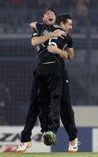 New Zealand's Martin Guptill and bowler Nathan McCullum