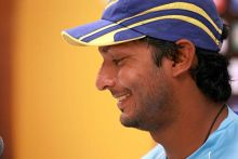 Sri Lanka skipper Kumar Sangakkara addresses the media
