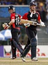 England batsmen Jonathan Trott (right) and Eoin Morgan