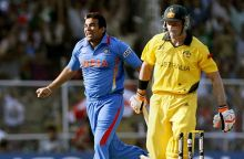 India paceman Zaheer Khan celebrates after dismissing Australia batsman Michael Hussey