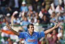 India paceman Zaheer Khan celebrates the wicket of the Netherlands' captain Peter Borren
