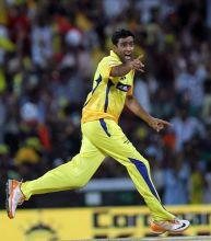 Chennai spinner R Ashwin celebrates the wicket of Pune batsman Robin Uthappa