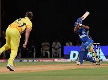 Chennai bowler Doug Bollinger bowls to Mumbai captain Sachin Tendulkar