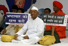 Anna Hazare on an indefinite fast in Delhi.