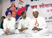 Anna Hazare with followers