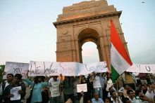 An anti-corruption protest at India Gate.