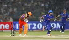 Kochi captain Mahela Jayawardene is bowled out by Rajasthan bowler Johan Botha