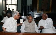 Minister of State for Parliamentary Affairs Ashwani Kumar, Senior Congress leader and MP Motilal Vora and Union Minister of Labour & Employment Malikarjun Kharge