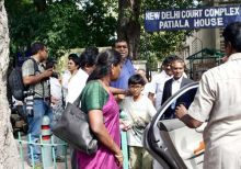 Kanimozhi's husband Aravindan, son Aditya and other family members leave Patiala House court