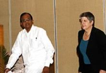 Home Minister P. Chidambaram and US Department of Homeland Security secretary Janet Napolitano
