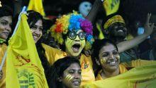 Chennai fans cheer their team on against Bangalore