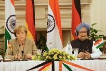 Prime Minister Manmohan Singh and German Chancellor Angela Merkel