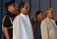 Assam Governor Janaki Ballav Patnaik and CM Tarun Gogoi