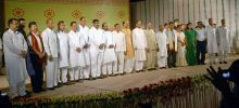 Assam Chief Minister Tarun Gogoi, Governor Janaki Ballav Patnaik and his ministers