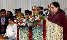 J. Jayalalithaa, Jayalalithaa, Jaya, Tamil Nadu CM, sworn in ceremony, AIADMK leader, Jaya sworn in as Tamil Nadu CM, Jayalalithaa sworn in as Tamil Nadu CM, Madras University centenary auditorium, Chennai, Gujarat Chief Minister Narendra Modi, TDP chief