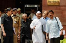 Civil society members of the Lokpal panel coming out after a meeting