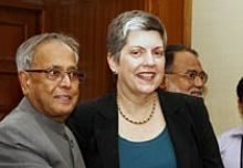US Department of Homeland Security secretary Janet Napolitano and Union Finance Minister Pranab Mukherjee