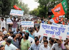 BJP holds protests against petrol price hike