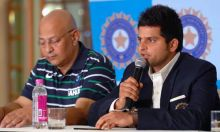 Suresh Raina during a PC with Duncan Fletcher