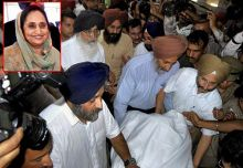 The Badal family takes away the body Surinder Kaur (inset)