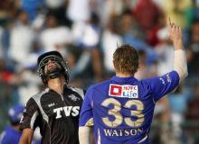 Pune batsman Harpreet Singh reacts after being dismissed by Rajasthan paceman Shane Watson