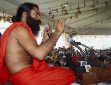 Baba Ramdev at his ashram in Haridwar