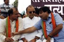 Nitin Gadkari, Arun Jaitley, Ananth Kumar at the Rajghat