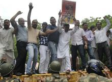 BJP workers protest against the recent fuel price hikes