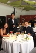 Stanley Pinto and Anita Nair with chef Abhijit Saha at Caperberry.