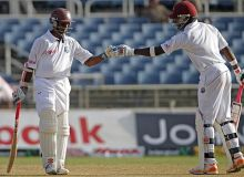 West Indies batsmen Shivnarine Chanderpaul (left) and Darren Bravo
