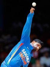 India offie Harbhajan Singh bowls
