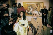 MF Husain with Madhuri Dixit