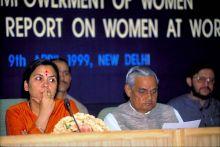 Uma Bharti and Atal Bihari Vajpayee attend a meeting in New Delhi.