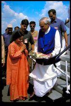 Uma Bharti seekd blesssings from senior BJP leader Atal Bihari Vajpayee.