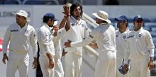 India pacer Ishant Sharma (centre) is congratulated by team-mates
