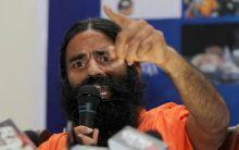 Yoga guru Baba Ramdev addresses the media in New Delhi