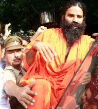 Yoga guru Baba Ramdev addressess the media in New Delhi